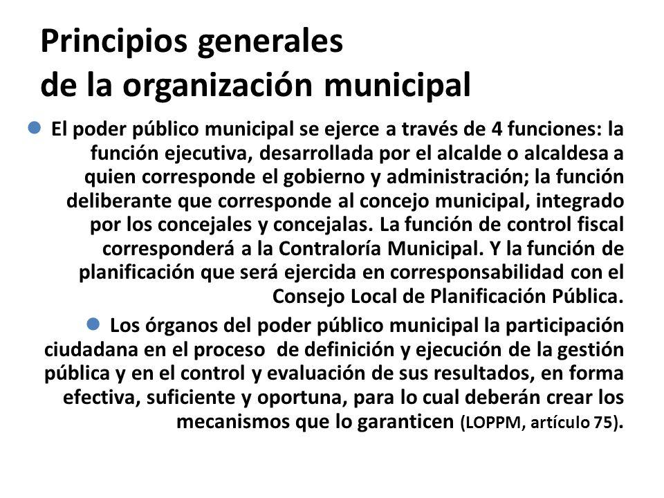 Principios generales de la organización municipal El poder público municipal se ejerce a través de 4 funciones: la función ejecutiva, desarrollada por