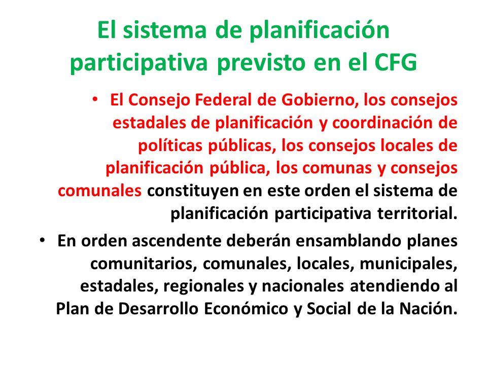 El sistema de planificación participativa previsto en el CFG El Consejo Federal de Gobierno, los consejos estadales de planificación y coordinación de