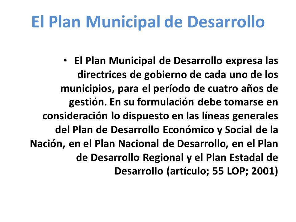 El Plan Municipal de Desarrollo El Plan Municipal de Desarrollo expresa las directrices de gobierno de cada uno de los municipios, para el período de