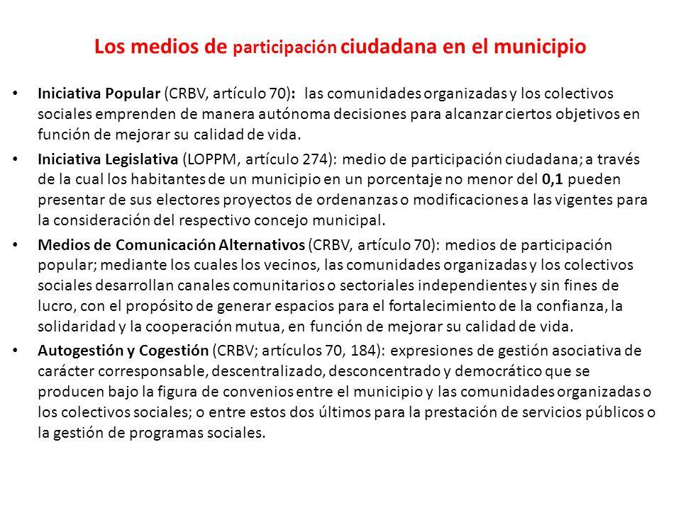 Iniciativa Popular (CRBV, artículo 70): las comunidades organizadas y los colectivos sociales emprenden de manera autónoma decisiones para alcanzar ci