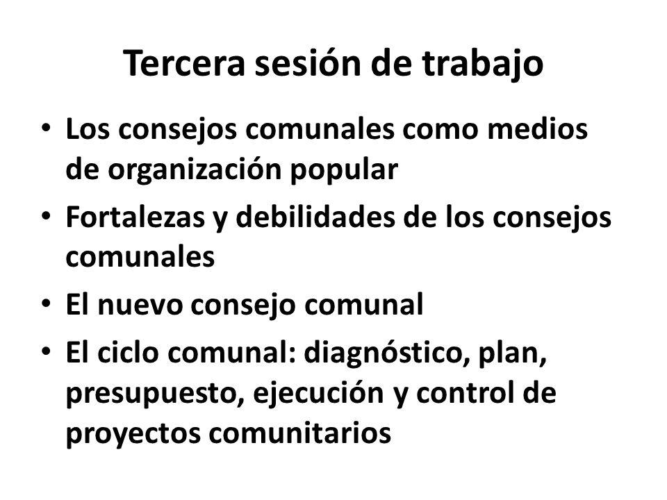 Tercera sesión de trabajo Los consejos comunales como medios de organización popular Fortalezas y debilidades de los consejos comunales El nuevo conse