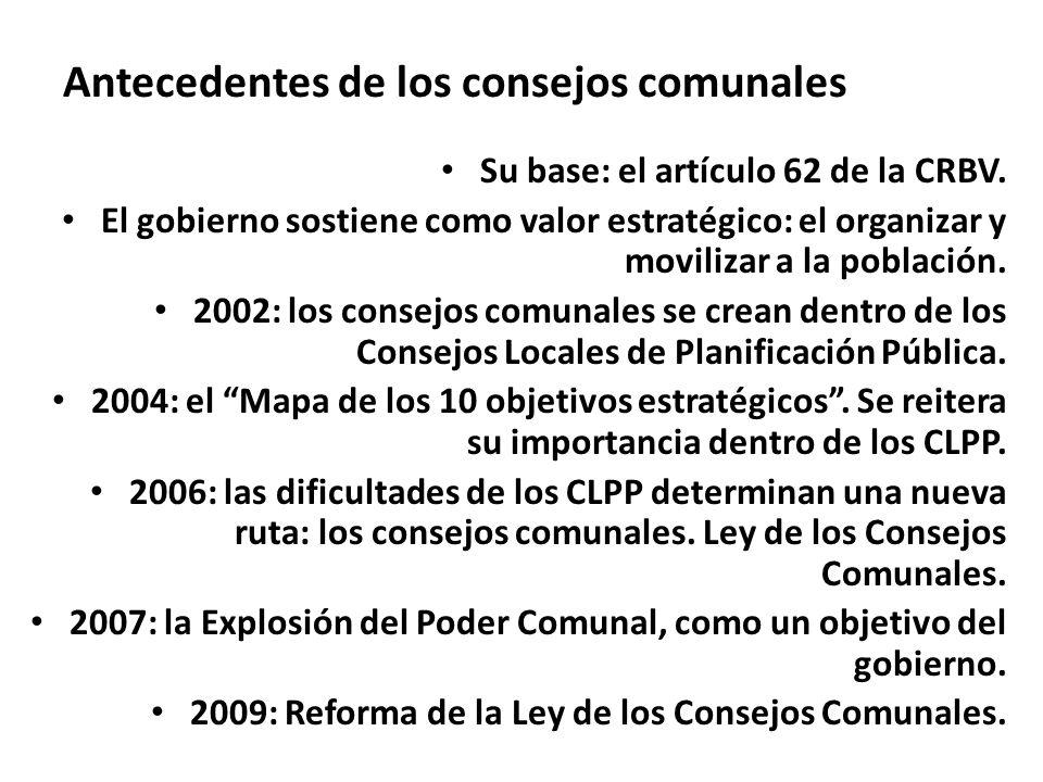 Antecedentes de los consejos comunales Su base: el artículo 62 de la CRBV. El gobierno sostiene como valor estratégico: el organizar y movilizar a la