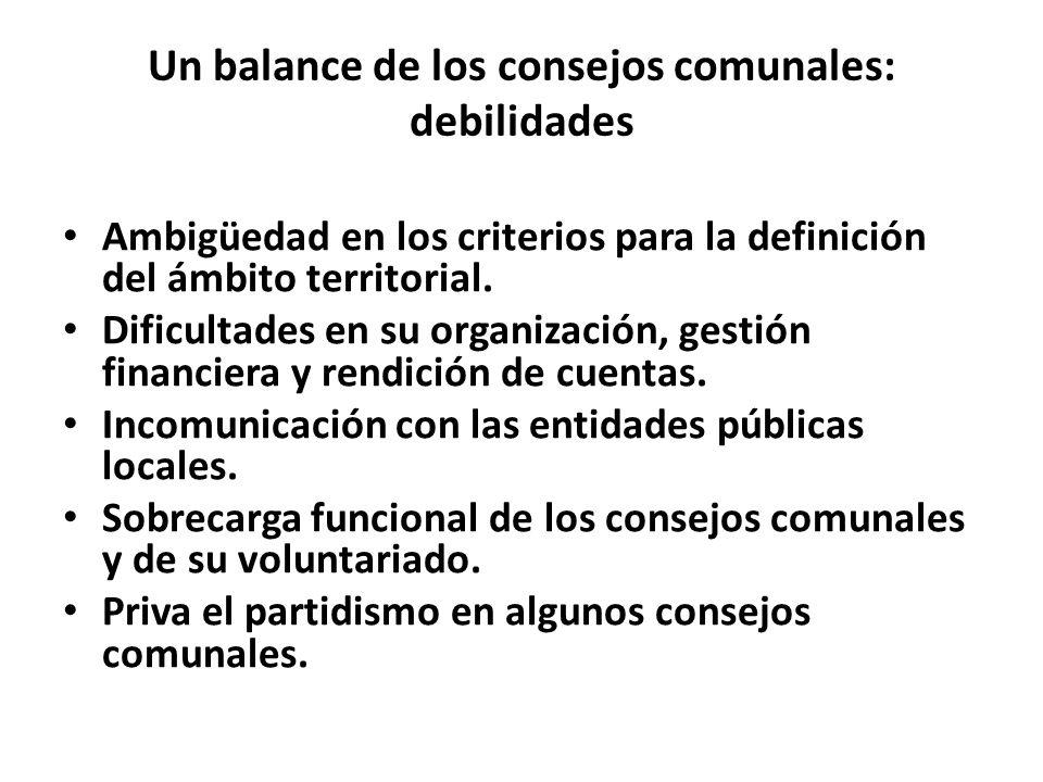Un balance de los consejos comunales: debilidades Ambigüedad en los criterios para la definición del ámbito territorial. Dificultades en su organizaci