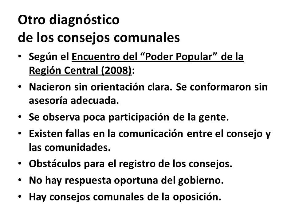 Según el Encuentro del Poder Popular de la Región Central (2008): Nacieron sin orientación clara. Se conformaron sin asesoría adecuada. Se observa poc