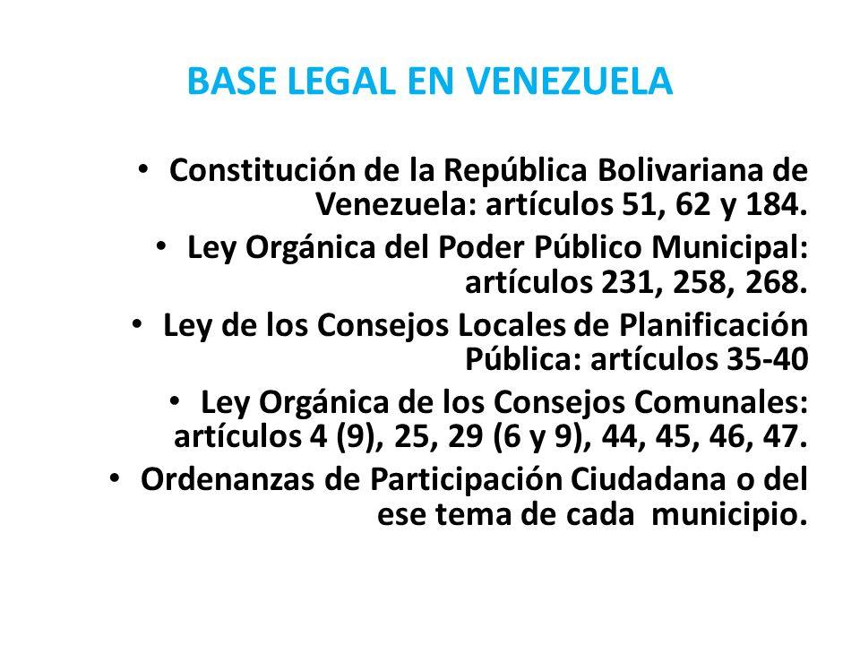 BASE LEGAL EN VENEZUELA Constitución de la República Bolivariana de Venezuela: artículos 51, 62 y 184. Ley Orgánica del Poder Público Municipal: artíc