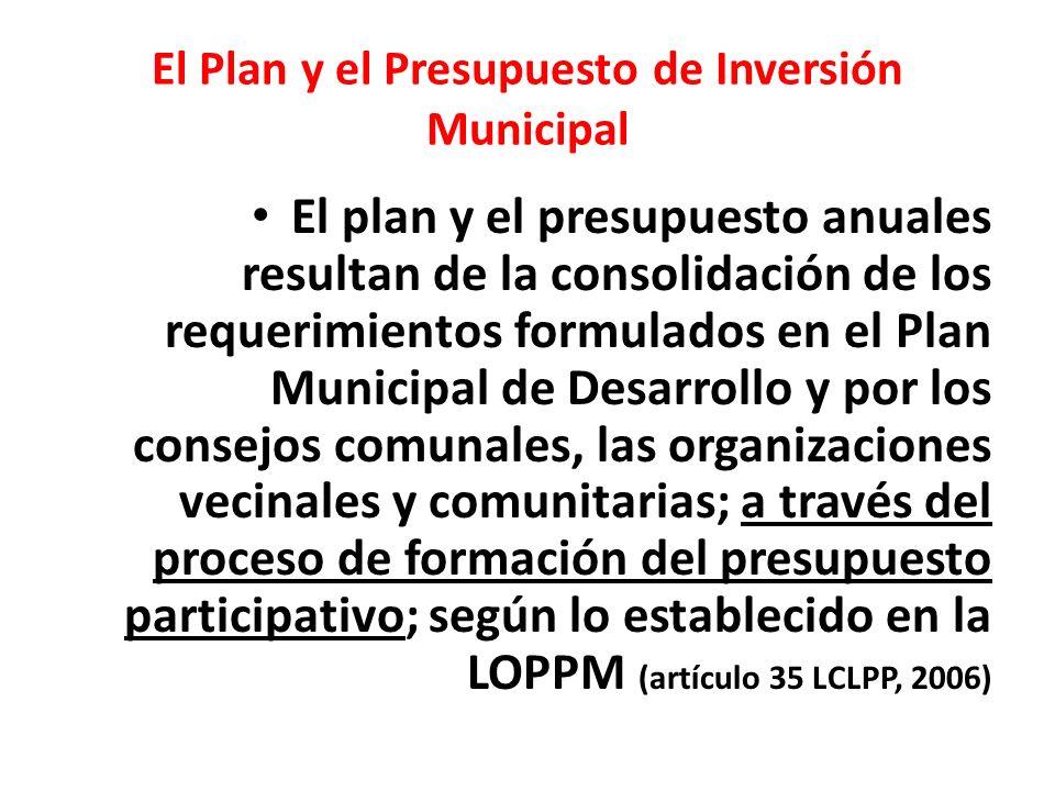 El Plan y el Presupuesto de Inversión Municipal El plan y el presupuesto anuales resultan de la consolidación de los requerimientos formulados en el P