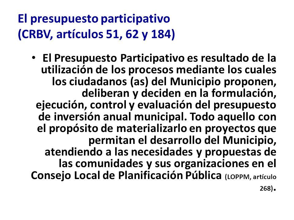 El presupuesto participativo (CRBV, artículos 51, 62 y 184) El Presupuesto Participativo es resultado de la utilización de los procesos mediante los c
