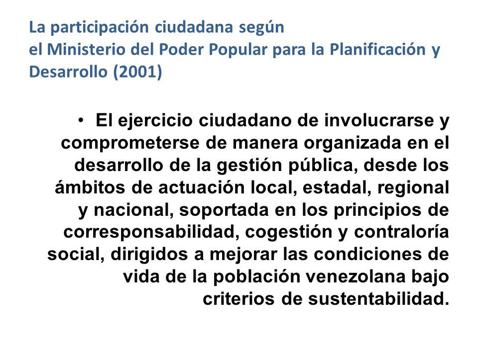 La participación ciudadana según el Ministerio del Poder Popular para la Planificación y Desarrollo (2001) El ejercicio ciudadano de involucrarse y co