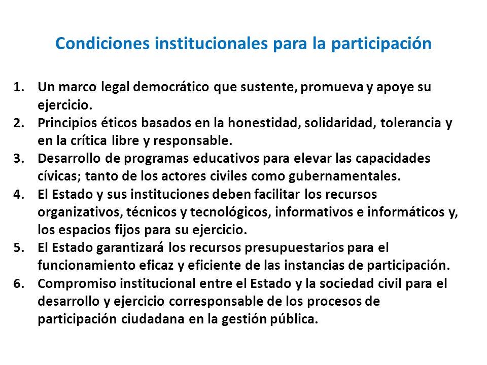 Condiciones institucionales para la participación 1.Un marco legal democrático que sustente, promueva y apoye su ejercicio. 2.Principios éticos basado