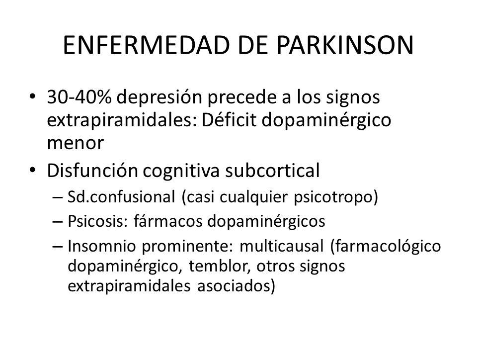 ENFERMEDAD DE PARKINSON 30-40% depresión precede a los signos extrapiramidales: Déficit dopaminérgico menor Disfunción cognitiva subcortical – Sd.conf