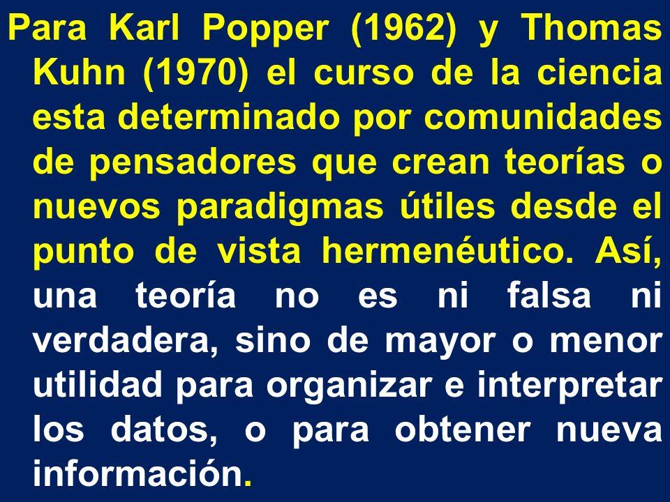 Para Karl Popper (1962) y Thomas Kuhn (1970) el curso de la ciencia esta determinado por comunidades de pensadores que crean teorías o nuevos paradigm