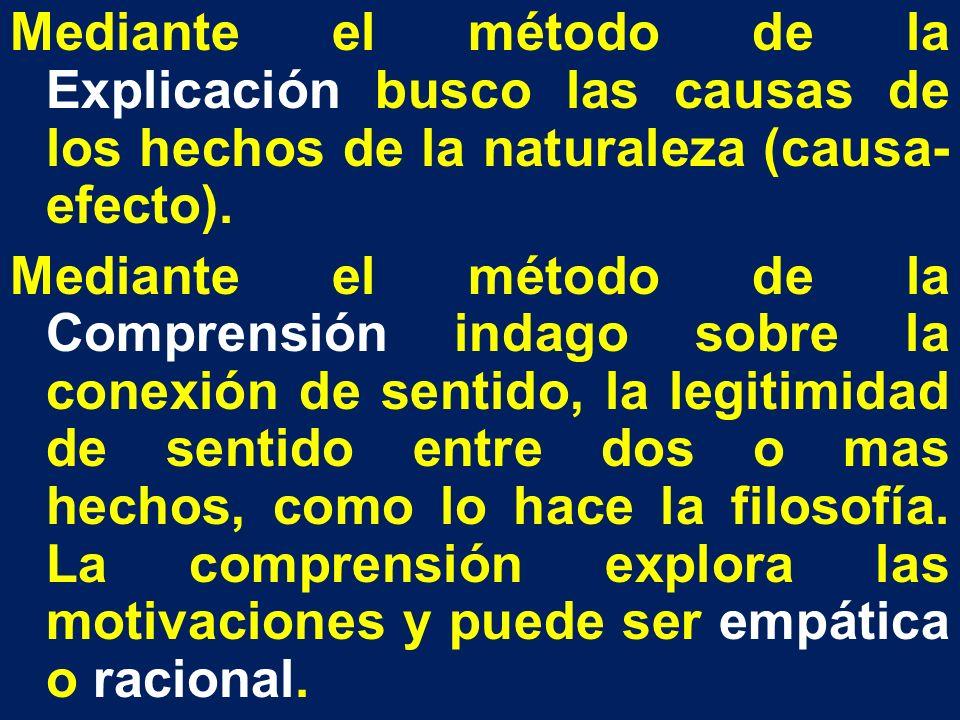 Mediante el método de la Explicación busco las causas de los hechos de la naturaleza (causa- efecto). Mediante el método de la Comprensión indago sobr