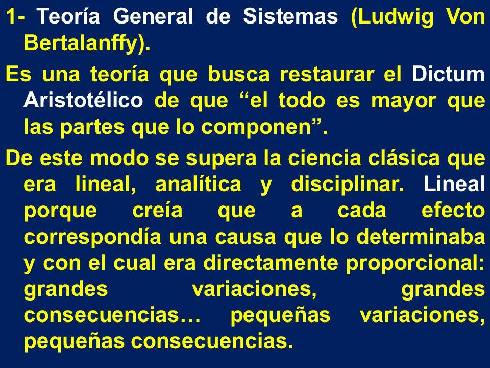 1- Teoría General de Sistemas (Ludwig Von Bertalanffy). Es una teoría que busca restaurar el Dictum Aristotélico de que el todo es mayor que las parte