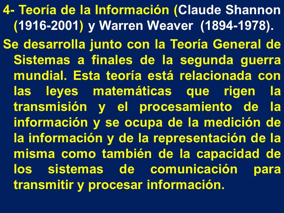 4- Teoría de la Información (Claude Shannon (1916-2001) y Warren Weaver (1894-1978). Se desarrolla junto con la Teoría General de Sistemas a finales d