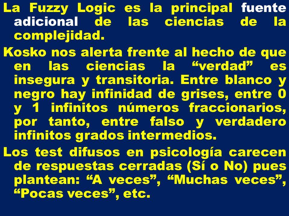La Fuzzy Logic es la principal fuente adicional de las ciencias de la complejidad. Kosko nos alerta frente al hecho de que en las ciencias la verdad e