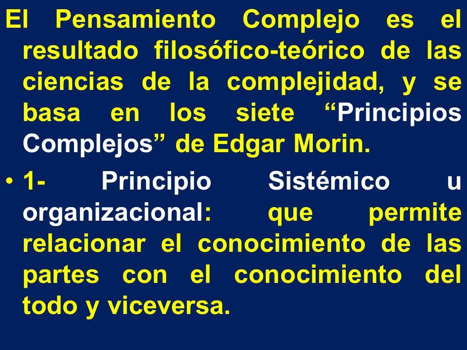 El Pensamiento Complejo es el resultado filosófico-teórico de las ciencias de la complejidad, y se basa en los siete Principios Complejos de Edgar Mor