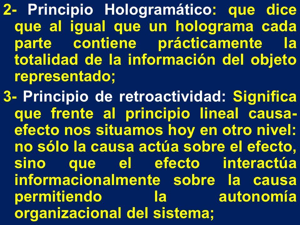 2- Principio Hologramático: que dice que al igual que un holograma cada parte contiene prácticamente la totalidad de la información del objeto represe