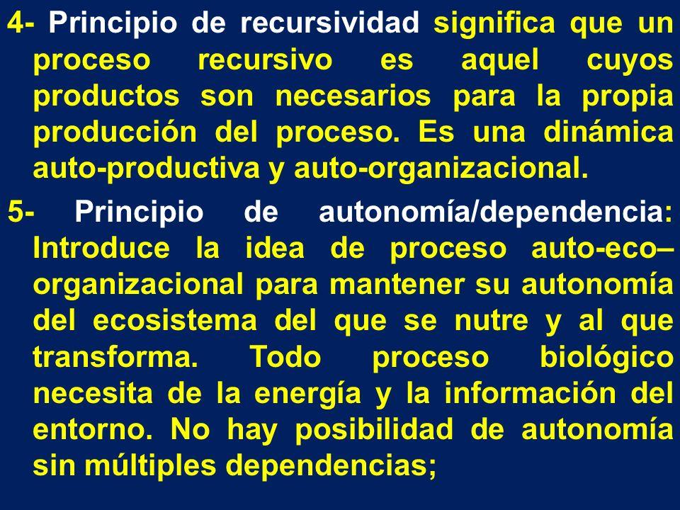 4- Principio de recursividad significa que un proceso recursivo es aquel cuyos productos son necesarios para la propia producción del proceso. Es una
