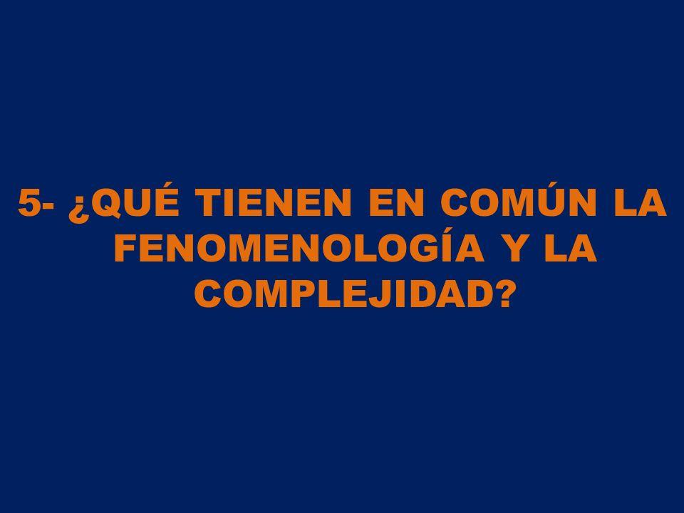5- ¿QUÉ TIENEN EN COMÚN LA FENOMENOLOGÍA Y LA COMPLEJIDAD?