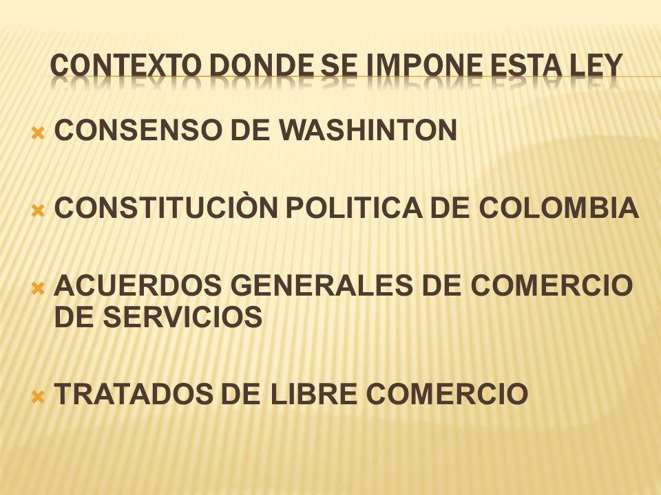 CONSENSO DE WASHINTON CONSTITUCIÒN POLITICA DE COLOMBIA ACUERDOS GENERALES DE COMERCIO DE SERVICIOS TRATADOS DE LIBRE COMERCIO