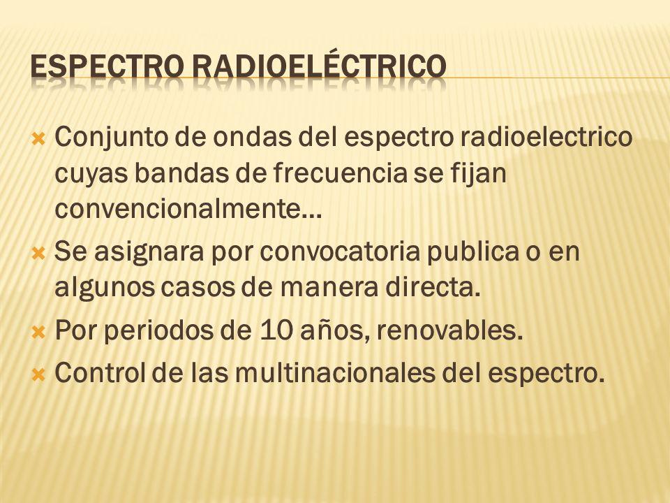 Conjunto de ondas del espectro radioelectrico cuyas bandas de frecuencia se fijan convencionalmente… Se asignara por convocatoria publica o en algunos casos de manera directa.
