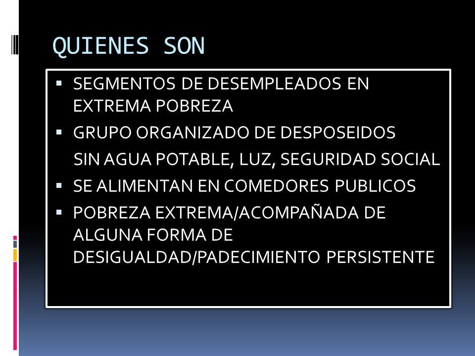 QUIENES SON SEGMENTOS DE DESEMPLEADOS EN EXTREMA POBREZA GRUPO ORGANIZADO DE DESPOSEIDOS SIN AGUA POTABLE, LUZ, SEGURIDAD SOCIAL SE ALIMENTAN EN COMEDORES PUBLICOS POBREZA EXTREMA/ACOMPAÑADA DE ALGUNA FORMA DE DESIGUALDAD/PADECIMIENTO PERSISTENTE