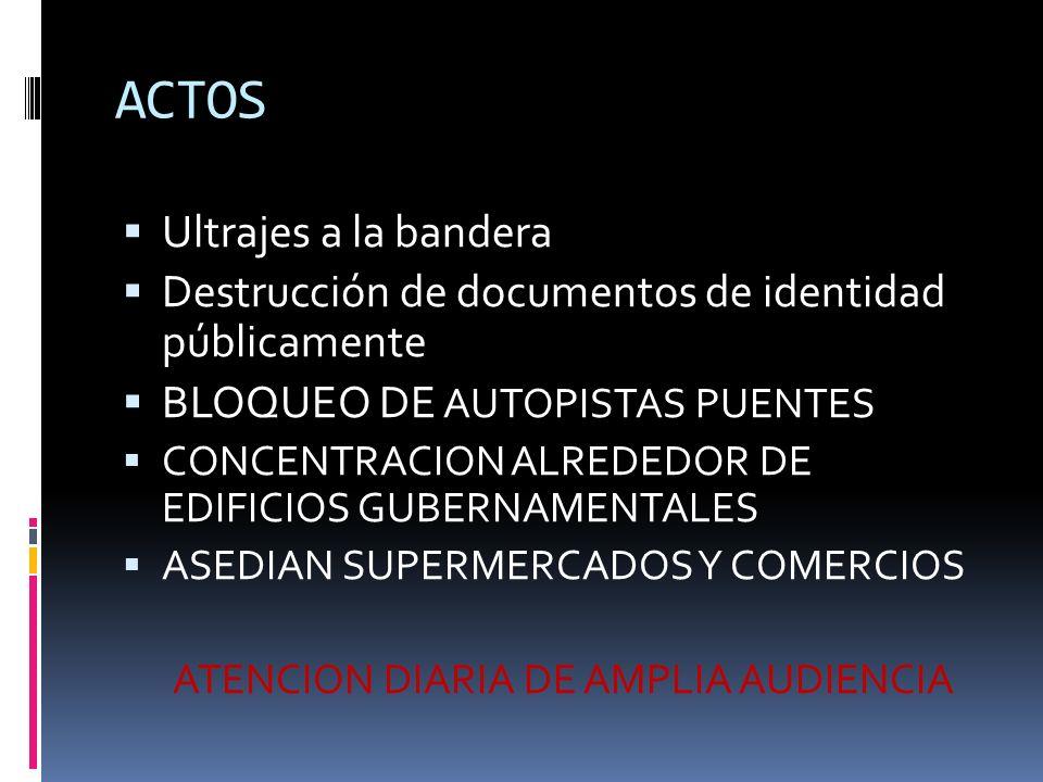 ACTOS Ultrajes a la bandera Destrucción de documentos de identidad públicamente BLOQUEO DE AUTOPISTAS PUENTES CONCENTRACION ALREDEDOR DE EDIFICIOS GUBERNAMENTALES ASEDIAN SUPERMERCADOS Y COMERCIOS ATENCION DIARIA DE AMPLIA AUDIENCIA