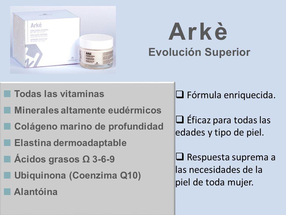Todas las vitaminas Minerales altamente eudérmicos Colágeno marino de profundidad Elastina dermoadaptable Ácidos grasos 3-6-9 Ubiquinona (Coenzima Q10