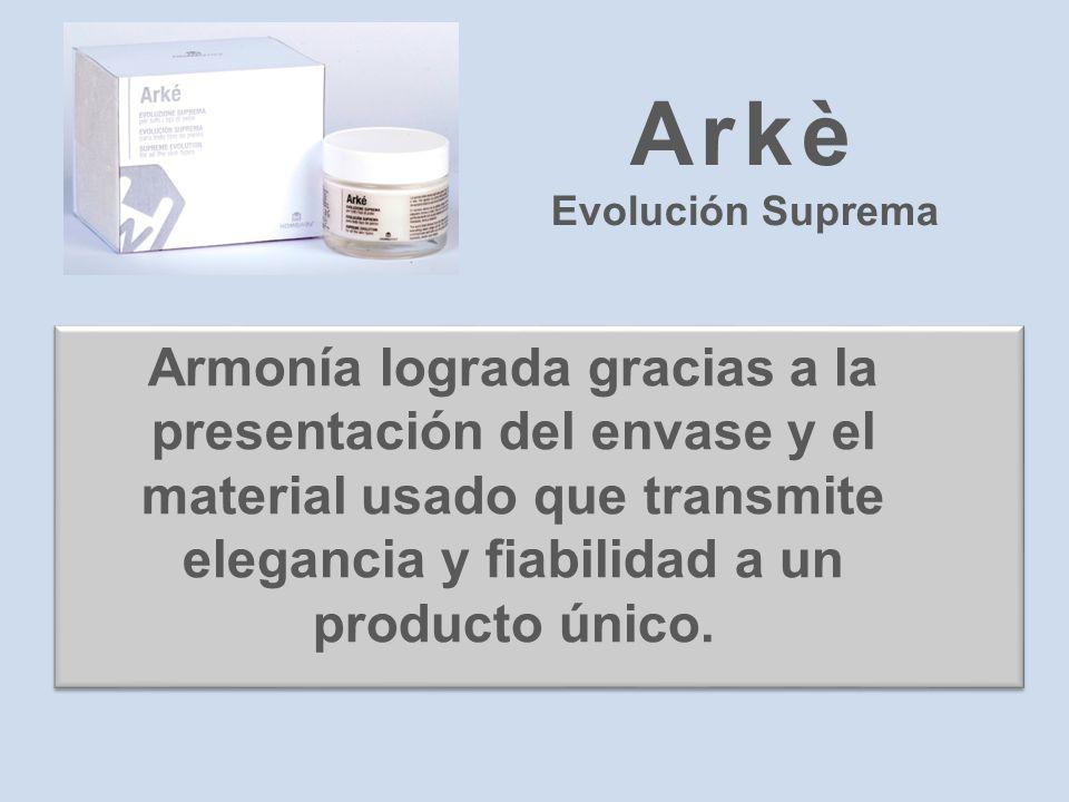 Armonía lograda gracias a la presentación del envase y el material usado que transmite elegancia y fiabilidad a un producto único. Arkè Evolución Supr
