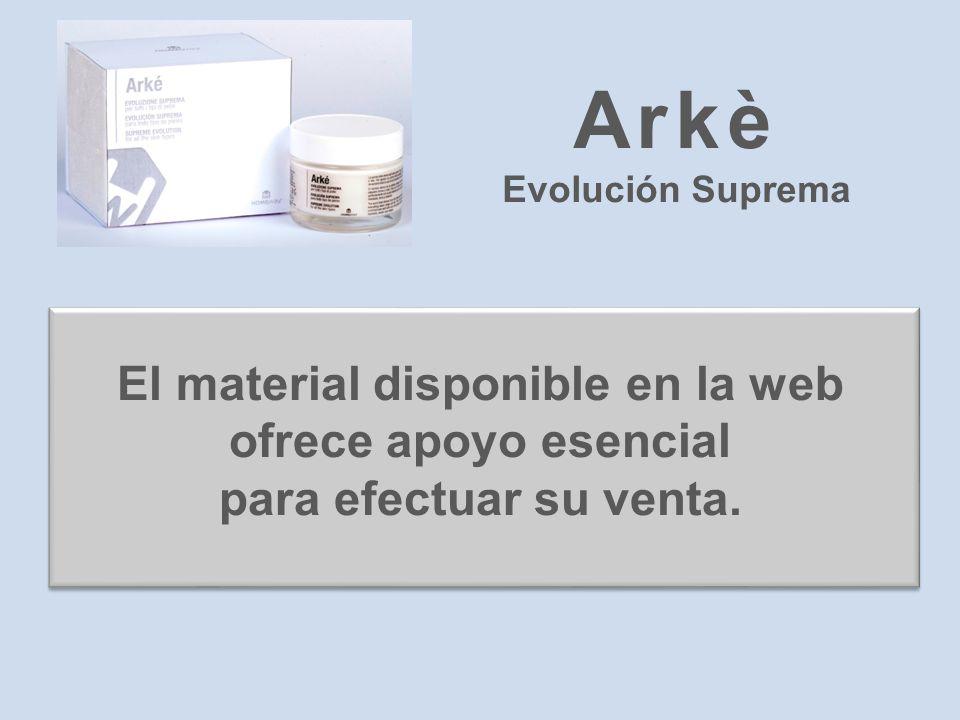 El material disponible en la web ofrece apoyo esencial para efectuar su venta. Arkè Evolución Suprema