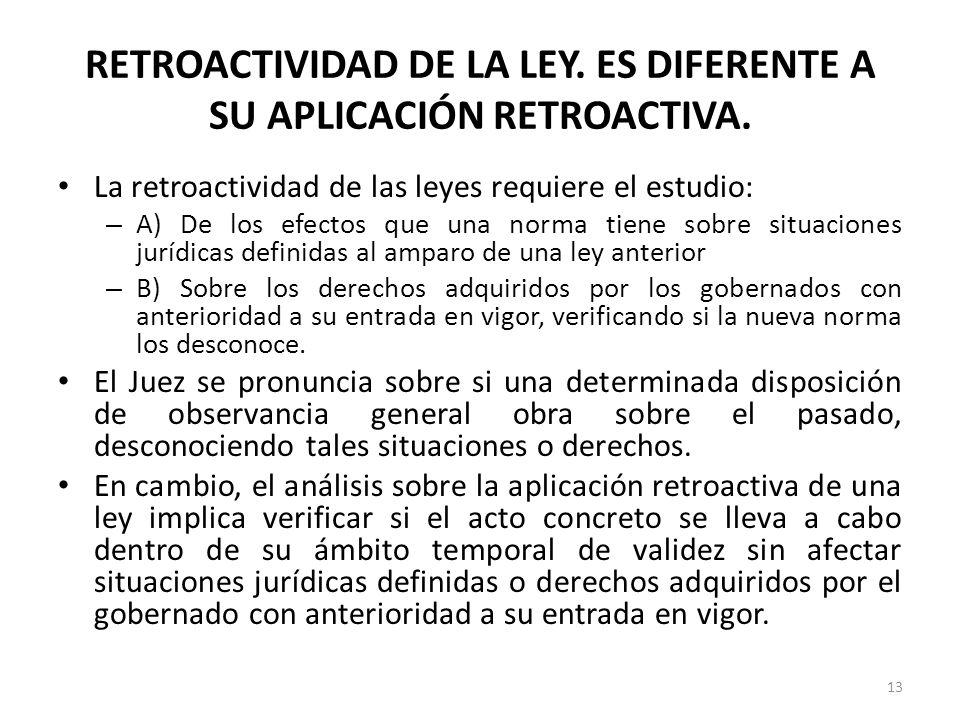 RETROACTIVIDAD DE LA LEY. ES DIFERENTE A SU APLICACIÓN RETROACTIVA. La retroactividad de las leyes requiere el estudio: – A) De los efectos que una no