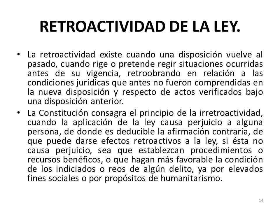 RETROACTIVIDAD DE LA LEY. La retroactividad existe cuando una disposición vuelve al pasado, cuando rige o pretende regir situaciones ocurridas antes d