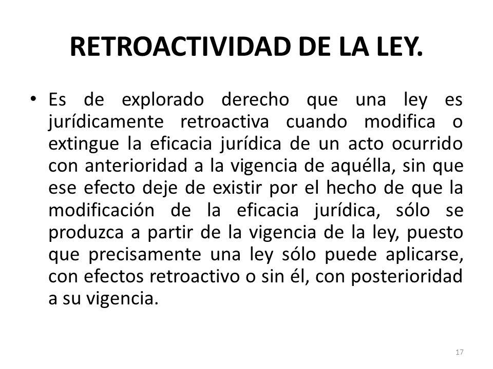 RETROACTIVIDAD DE LA LEY. Es de explorado derecho que una ley es jurídicamente retroactiva cuando modifica o extingue la eficacia jurídica de un acto