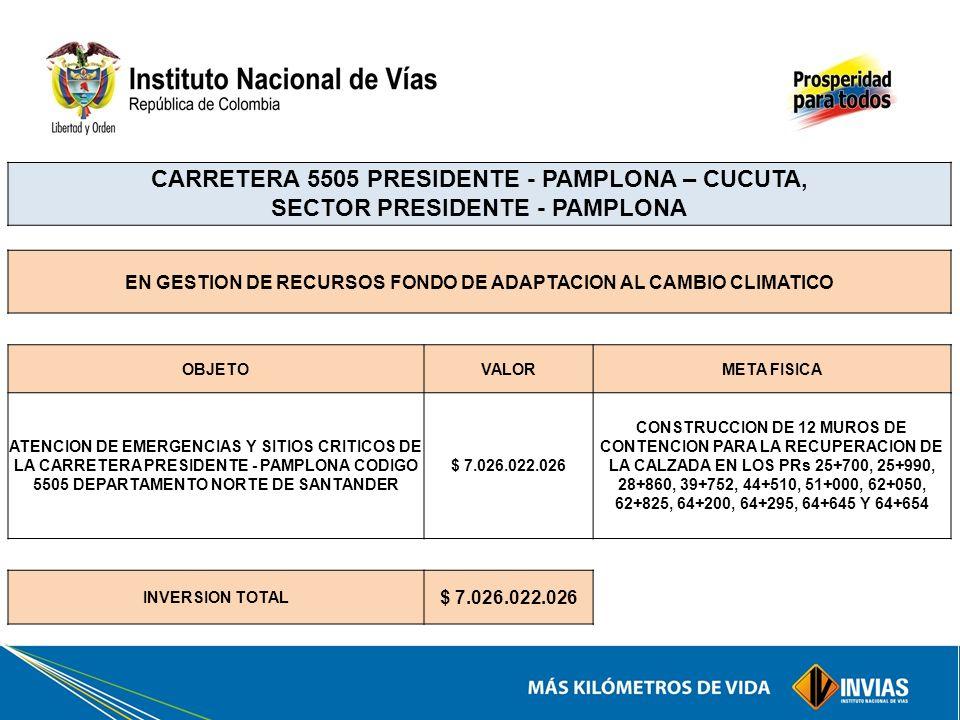 CARRETERA 5505 PRESIDENTE - PAMPLONA – CUCUTA, SECTOR PRESIDENTE - PAMPLONA EN GESTION DE RECURSOS FONDO DE ADAPTACION AL CAMBIO CLIMATICO OBJETOVALOR