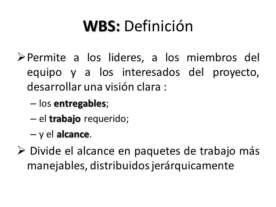 WBS: WBS: Definición Permite a los lideres, a los miembros del equipo y a los interesados del proyecto, desarrollar una visión clara : entregables – l