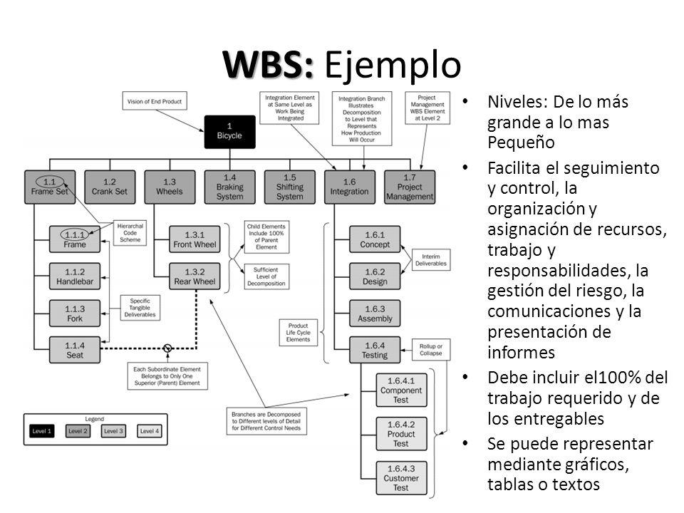 WBS: WBS: Ejemplo Niveles: De lo más grande a lo mas Pequeño Facilita el seguimiento y control, la organización y asignación de recursos, trabajo y re