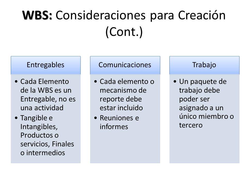 WBS: WBS: Consideraciones para Creación (Cont.) Entregables Cada Elemento de la WBS es un Entregable, no es una actividad Tangible e Intangibles, Prod