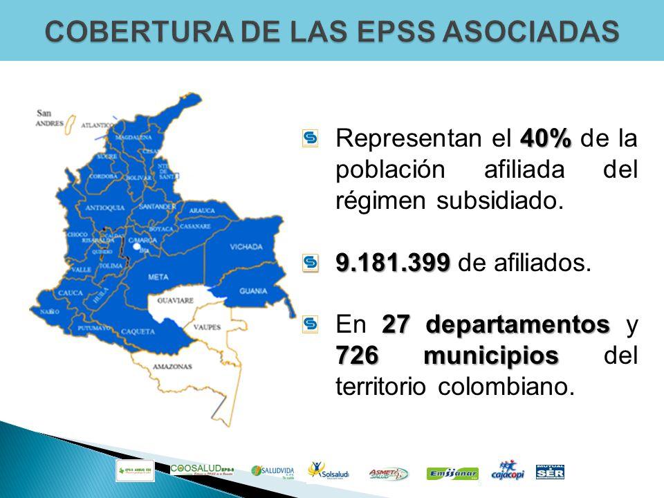 5 40% Representan el 40% de la población afiliada del régimen subsidiado. 9.181.399 9.181.399 de afiliados. 27 departamentos 726 municipios En 27 depa