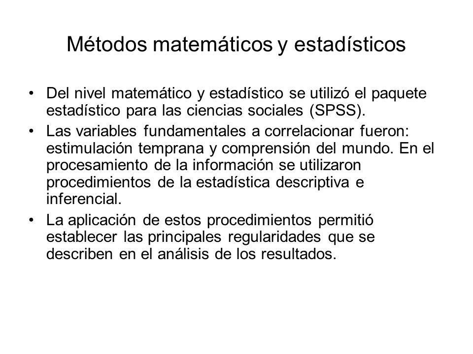 Métodos matemáticos y estadísticos Del nivel matemático y estadístico se utilizó el paquete estadístico para las ciencias sociales (SPSS). Las variabl