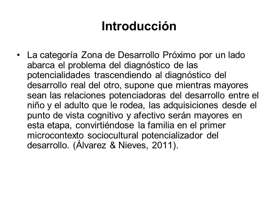 La categoría Zona de Desarrollo Próximo por un lado abarca el problema del diagnóstico de las potencialidades trascendiendo al diagnóstico del desarro