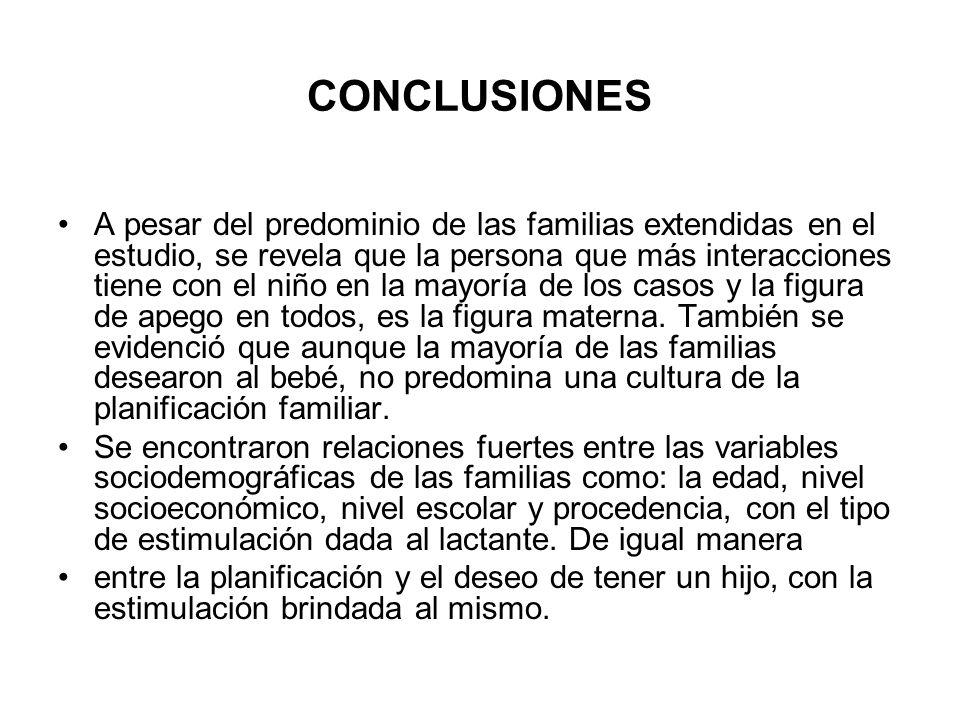 CONCLUSIONES A pesar del predominio de las familias extendidas en el estudio, se revela que la persona que más interacciones tiene con el niño en la m