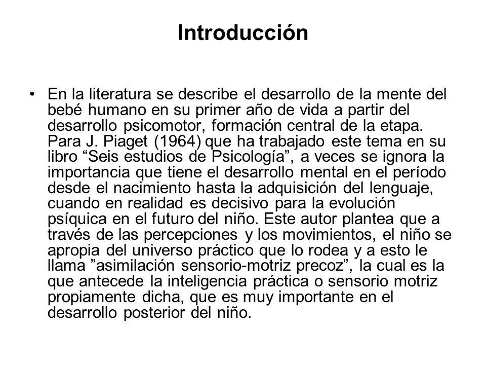 Introducción En la literatura se describe el desarrollo de la mente del bebé humano en su primer año de vida a partir del desarrollo psicomotor, forma