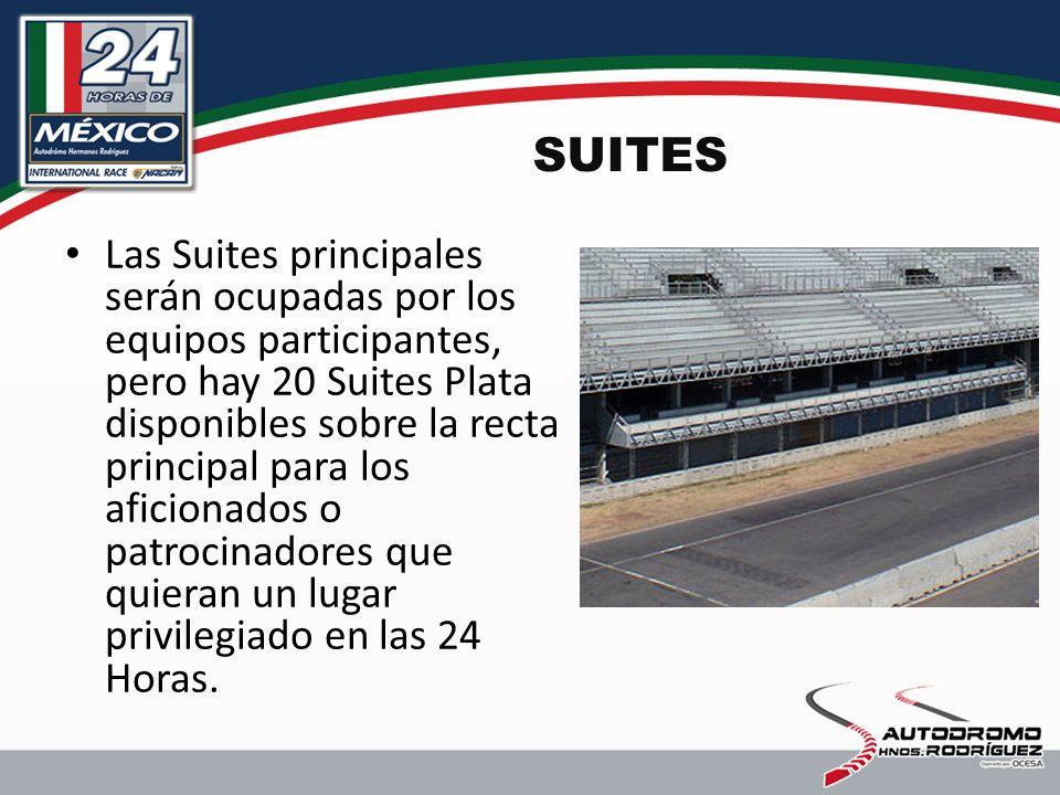 SUITES Las Suites principales serán ocupadas por los equipos participantes, pero hay 20 Suites Plata disponibles sobre la recta principal para los aficionados o patrocinadores que quieran un lugar privilegiado en las 24 Horas.