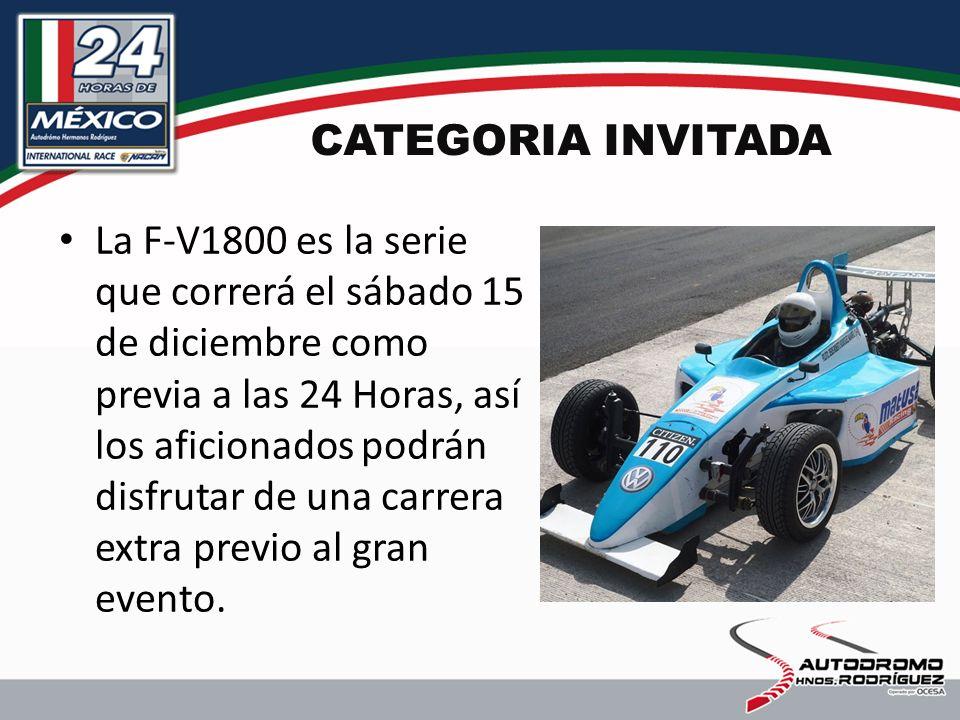 CATEGORIA INVITADA La F-V1800 es la serie que correrá el sábado 15 de diciembre como previa a las 24 Horas, así los aficionados podrán disfrutar de una carrera extra previo al gran evento.