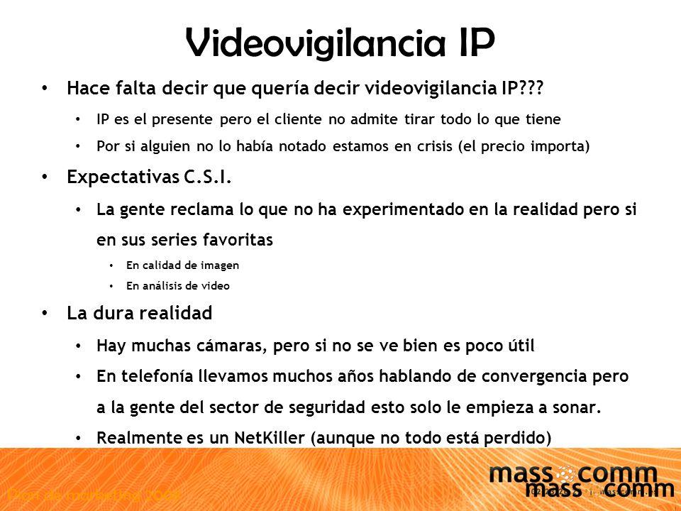 Plan de marketing 2008 Videovigilancia IP Hace falta decir que quería decir videovigilancia IP .
