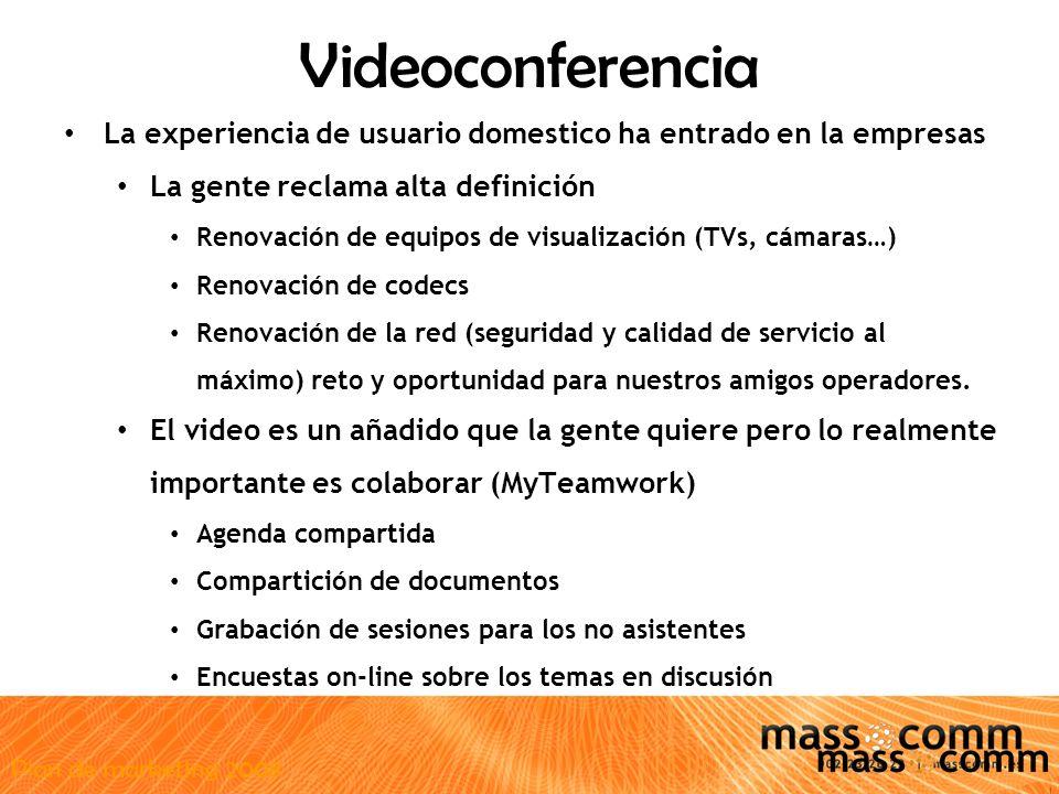 Plan de marketing 2008 Videoconferencia La experiencia de usuario domestico ha entrado en la empresas La gente reclama alta definición Renovación de equipos de visualización (TVs, cámaras…) Renovación de codecs Renovación de la red (seguridad y calidad de servicio al máximo) reto y oportunidad para nuestros amigos operadores.