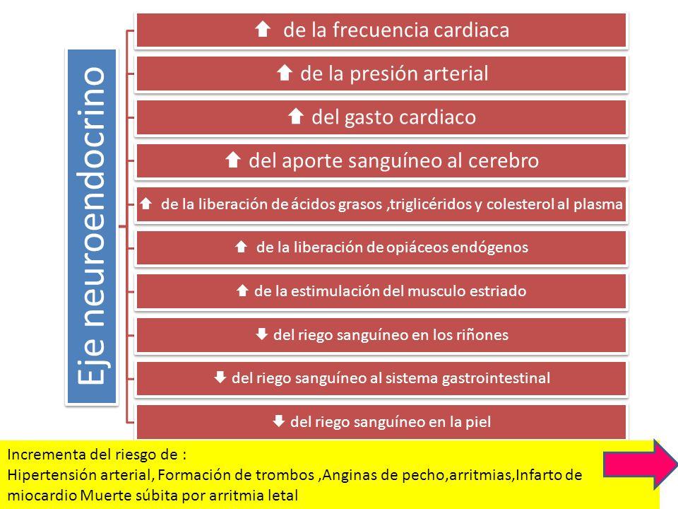 Eje neuroendocrino de la frecuencia cardiaca de la presión arterial del gasto cardiaco del aporte sanguíneo al cerebro de la liberación de ácidos gras