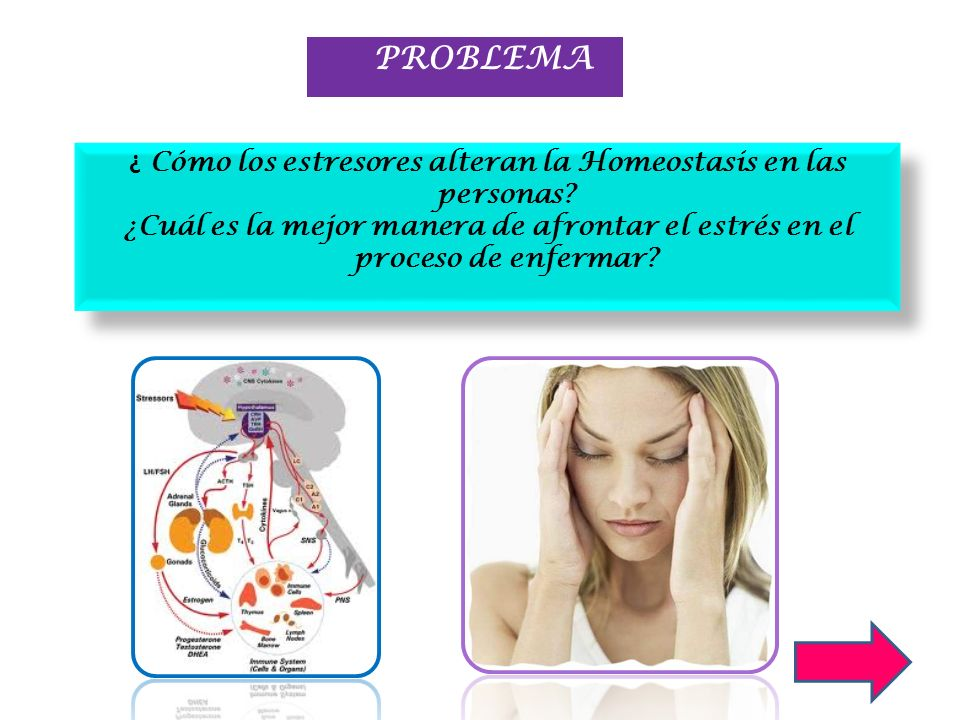 ESTRES SISTEMA NERVIOSO SISTEMA ENDOCRINO SISTEMA INMUNE CONTEXTO PSICONEUROINMUNOENDOCRINOLOGÍA Y ENFERMEDAD de Adrenalina y NA de CRH,ACTH y cortisol de células T, NK, Citoquinas proinflamatorias Desgaste en las múltiples funciones cerebrales, endocrinas e inmunológicas predisponiendo al desarrollo de las alteraciones físicas y mentales ENFERMEDAD