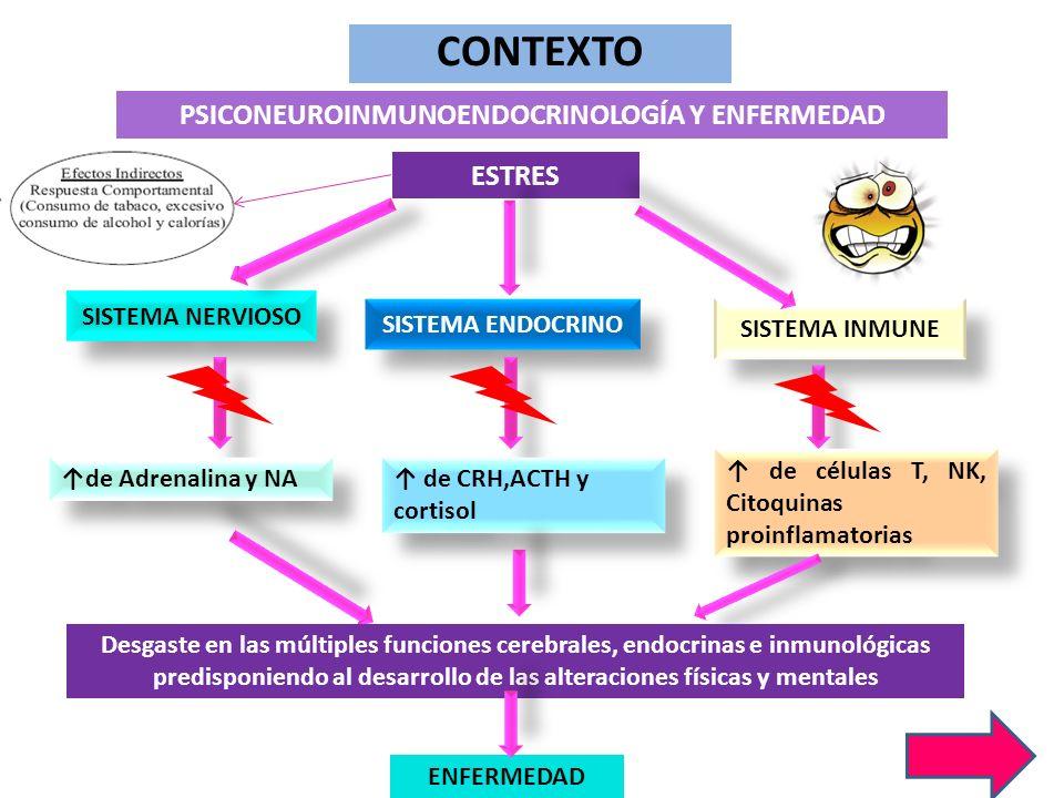 ESTRES SISTEMA NERVIOSO SISTEMA ENDOCRINO SISTEMA INMUNE CONTEXTO PSICONEUROINMUNOENDOCRINOLOGÍA Y ENFERMEDAD de Adrenalina y NA de CRH,ACTH y cortiso