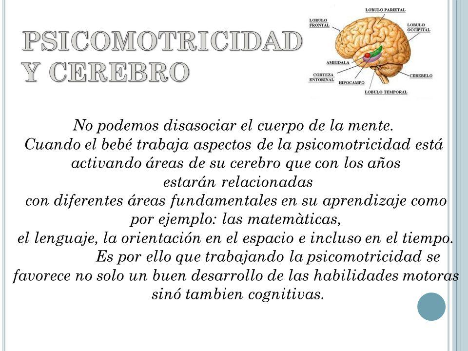 No podemos disasociar el cuerpo de la mente. Cuando el bebé trabaja aspectos de la psicomotricidad está activando áreas de su cerebro que con los años